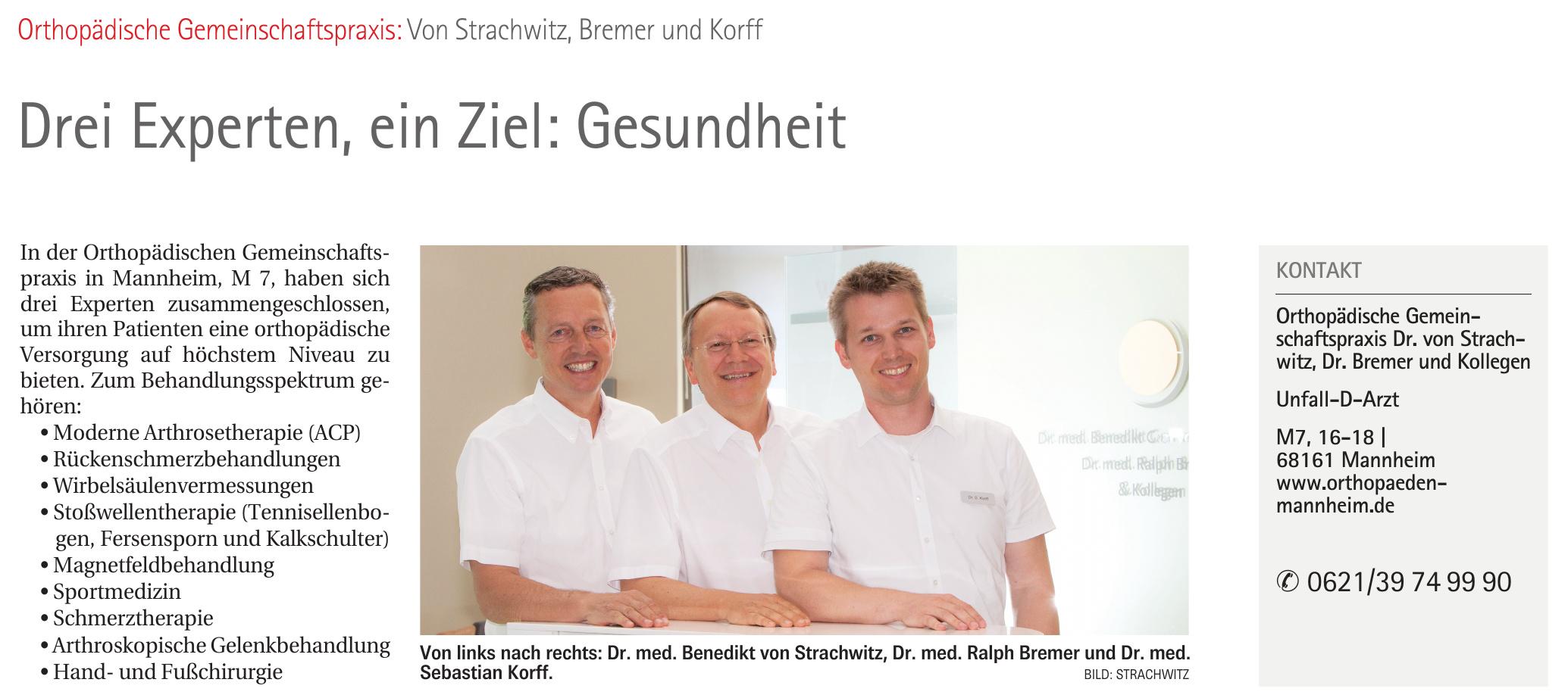 Orthopädische Gemeinschaftspraxis Dr. von Strachwitz, Dr. Bremer und Kollegen