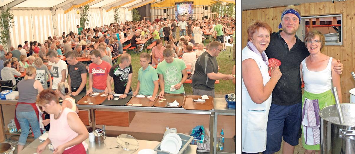 Rund 150 freiwillige Helfer, darunter auch die Kerwaburschen, sind bei der Kerwa im Einsatz. Vor allem am Donnerstag sind die Helfer in Küche und Service gefordert. Fotos: Dieter Jenß