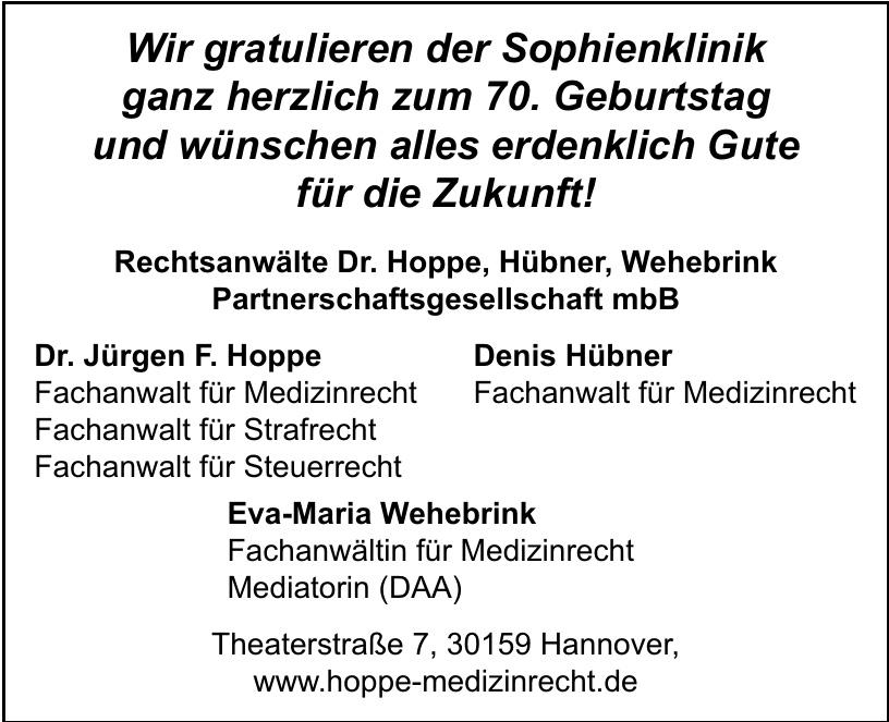 Rechtsanwälte Dr. Hoppe, Hübner, Wehebrink Partnerschaftsgesellschaft mbB