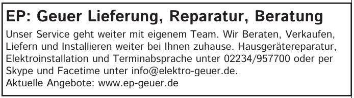EP: Geuer Lieferung, Reparatur, Beratung