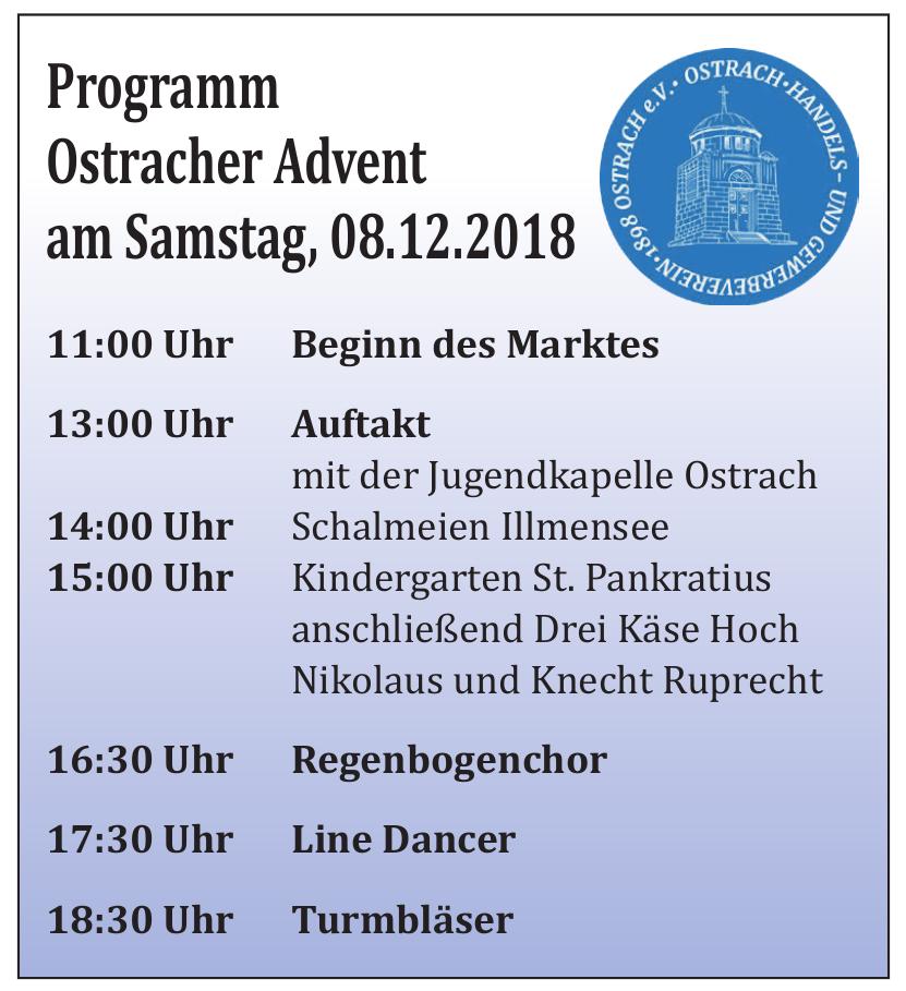 Programm Ostracher Advent am Samstag, 08.12.2018