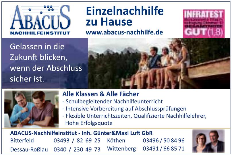 ABACUS Nachhilfeinstitut Günter & Maxi Luft GbR Dessau-Erfurt-Bamberg