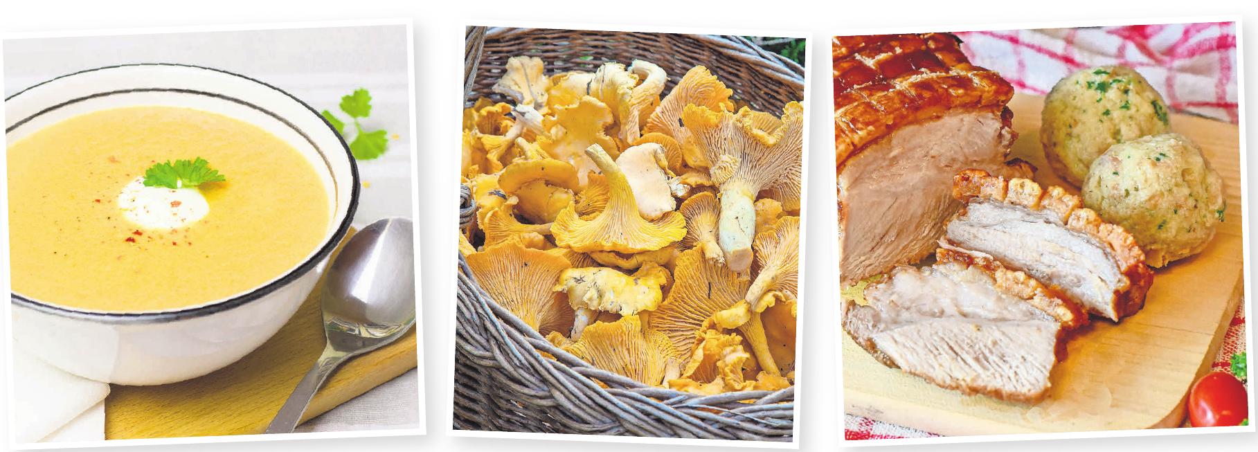 Tolle Farbe, feiner Geschmack: Kürbis lässt sich variantenreich zubereiten (Bilder von links). Frisch aus dem Wald: Pfifferlinge harmonieren mit der mediterranen Küche ebenso wie mit Wildgerichten. Beim ganz persönlichen Oktoberfest darf ein zünftiger Schweinebraten nicht fehlen.