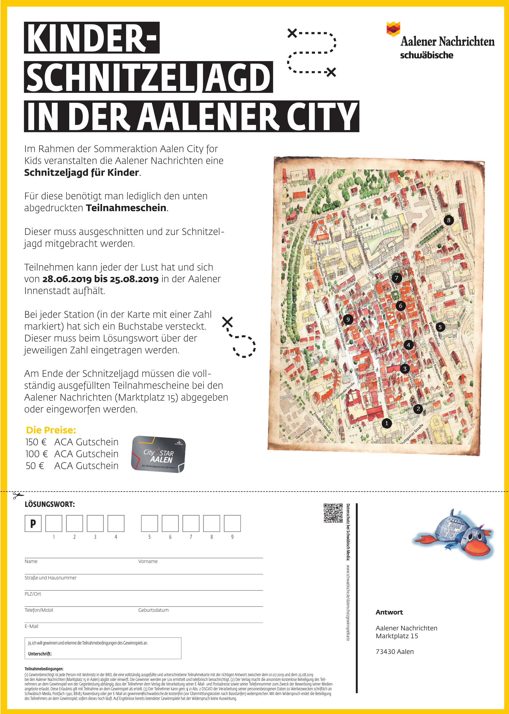 Kinder-Schnitzeljagd in der Aalener City