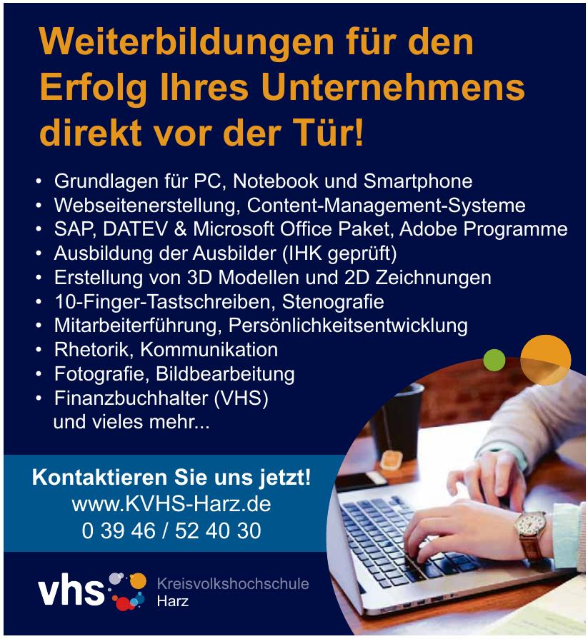 vhs Kreisvolkshochschule Harz