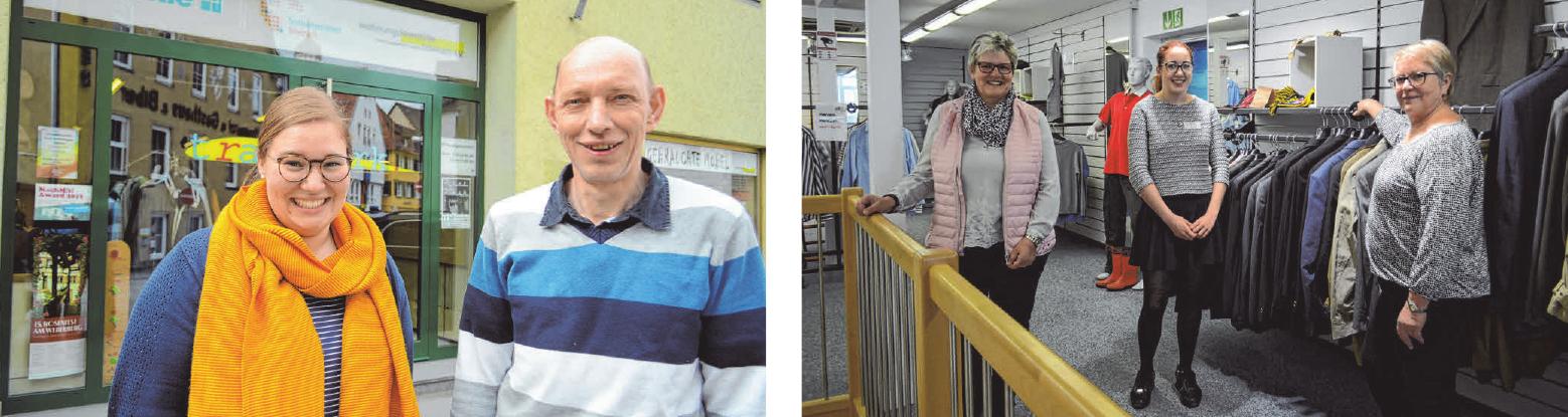 Katja Bart und Bernhard Fischer leiten das Biberacher Sozialkaufhaus Tragwerk (l.). Petra Wolf (rechtes Bild, v. l.) leitet das Trag's weiter seit 2014, Hannah Rottko absolviert hier ein FSJ, und Brigitte Freudig engagiert sich hier zusammen mit rund 30 weiteren Ehrenamtlichen FOTOS: CS