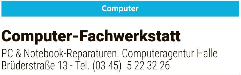 PC & Notebook Reparaturen Computeragentur Halle