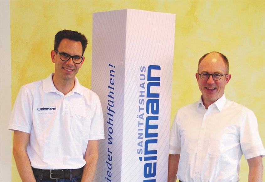 Matthias Häderle (li., Jörg Weinmann re.) ist der Ansprechpartner vor Ort in der Klinik am Eichert. Fotos: Weinmann