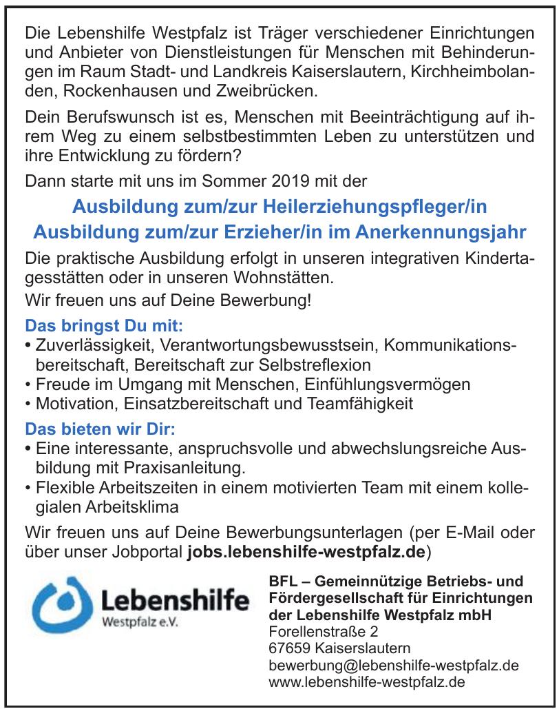 BFL – Gemeinnützige Betriebs- und Fördergesellschaft für Einrichtungen der Lebenshilfe Westpfalz mbH