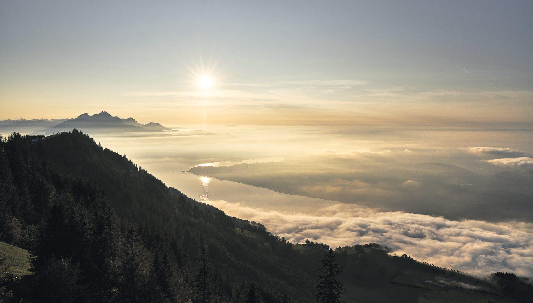 Der Blick übers Nebelmeer von einem der zahlreichen Aussichtspunkte auf der Rigi ist Genuss pur. Bild: PD