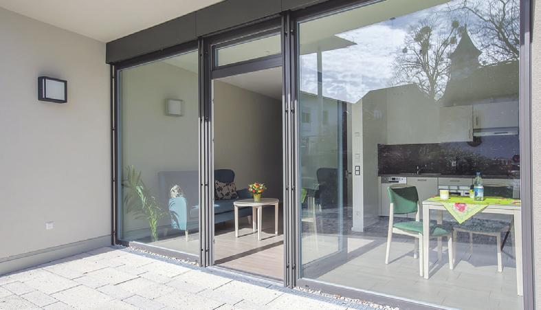 Alle Appartements sowie die Wohn- und Pflegegemeinschaften verfügen über eine Terrasse oder einen Balkon.