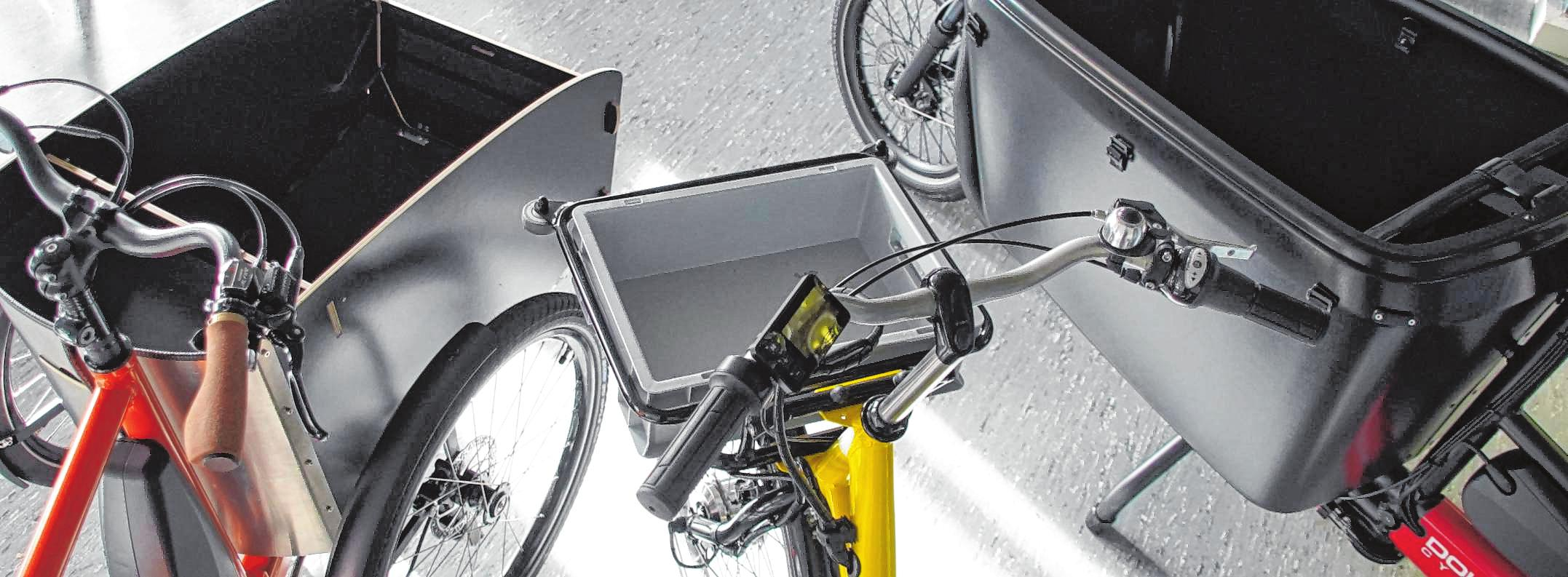 Die Transportboxen der E-Cargo-Bikes können unterschiedlich ausgestattet sein – etwa für Handwerker oder für Lieferdienste. Bild: Thomas Zelinger