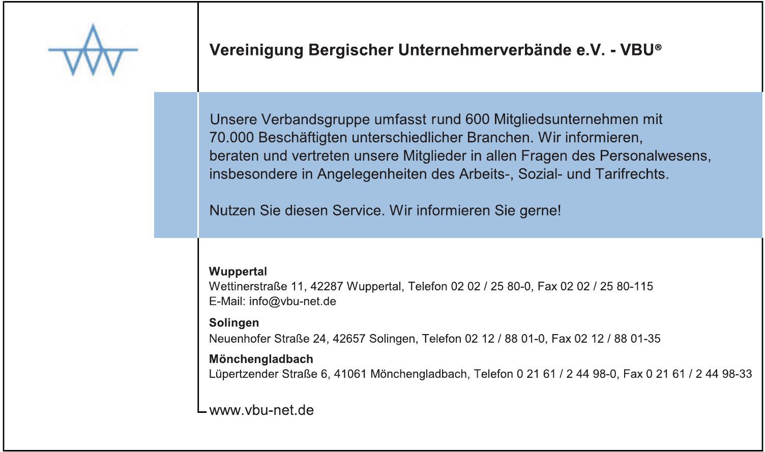 Vereinigung Bergischer Unternehmerverbände e. V. – VBU®