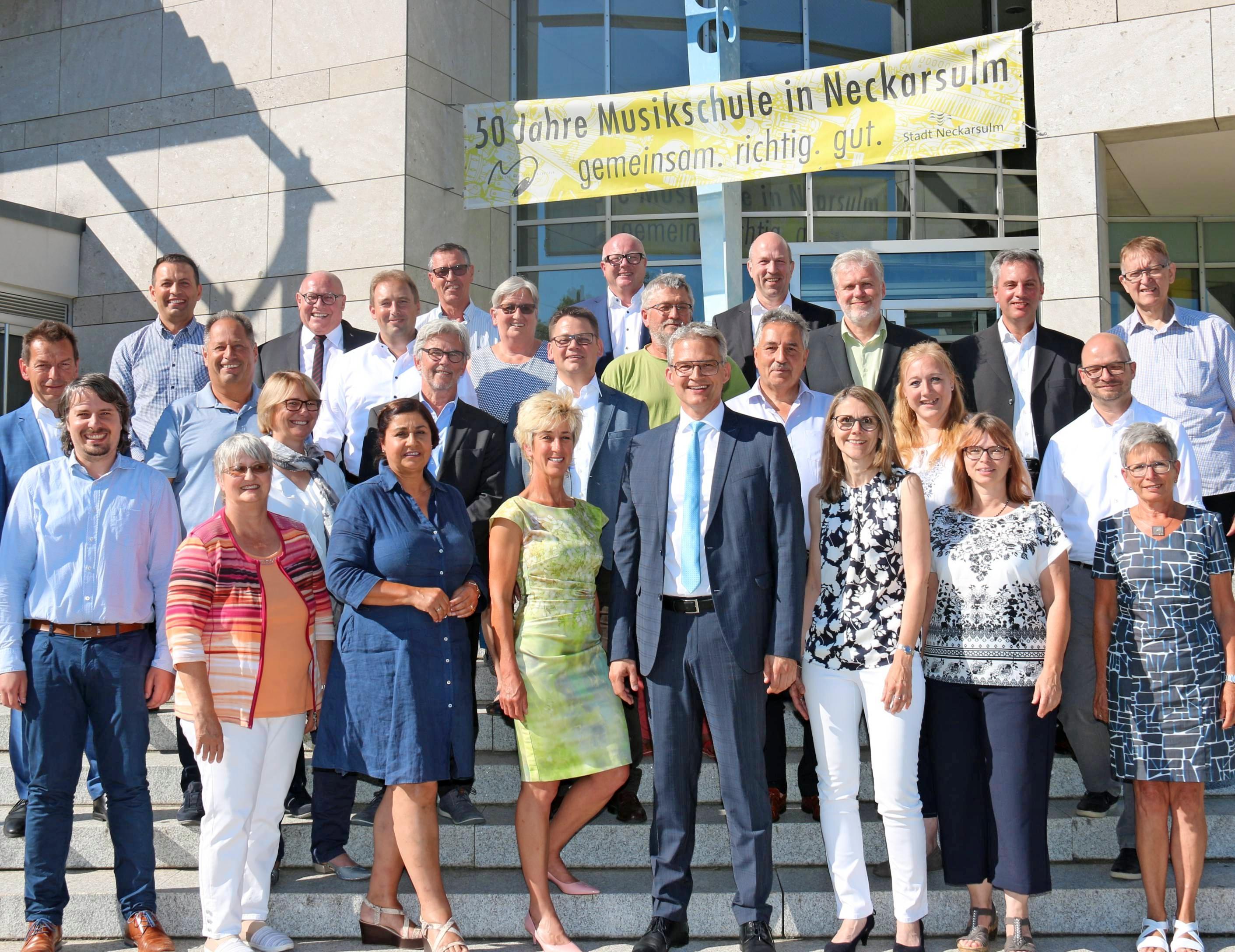 Der Gemeinderat der Stadt Neckarsulm hat sich neu konstituiert. Auf dem Foto fehlt Stadtrat Bernhard Zartmann.