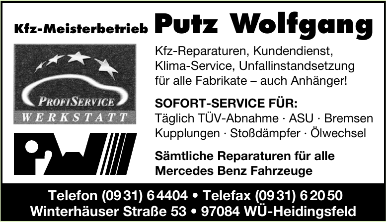 Kfz-Meisterbetrieb Putz Wolfgang