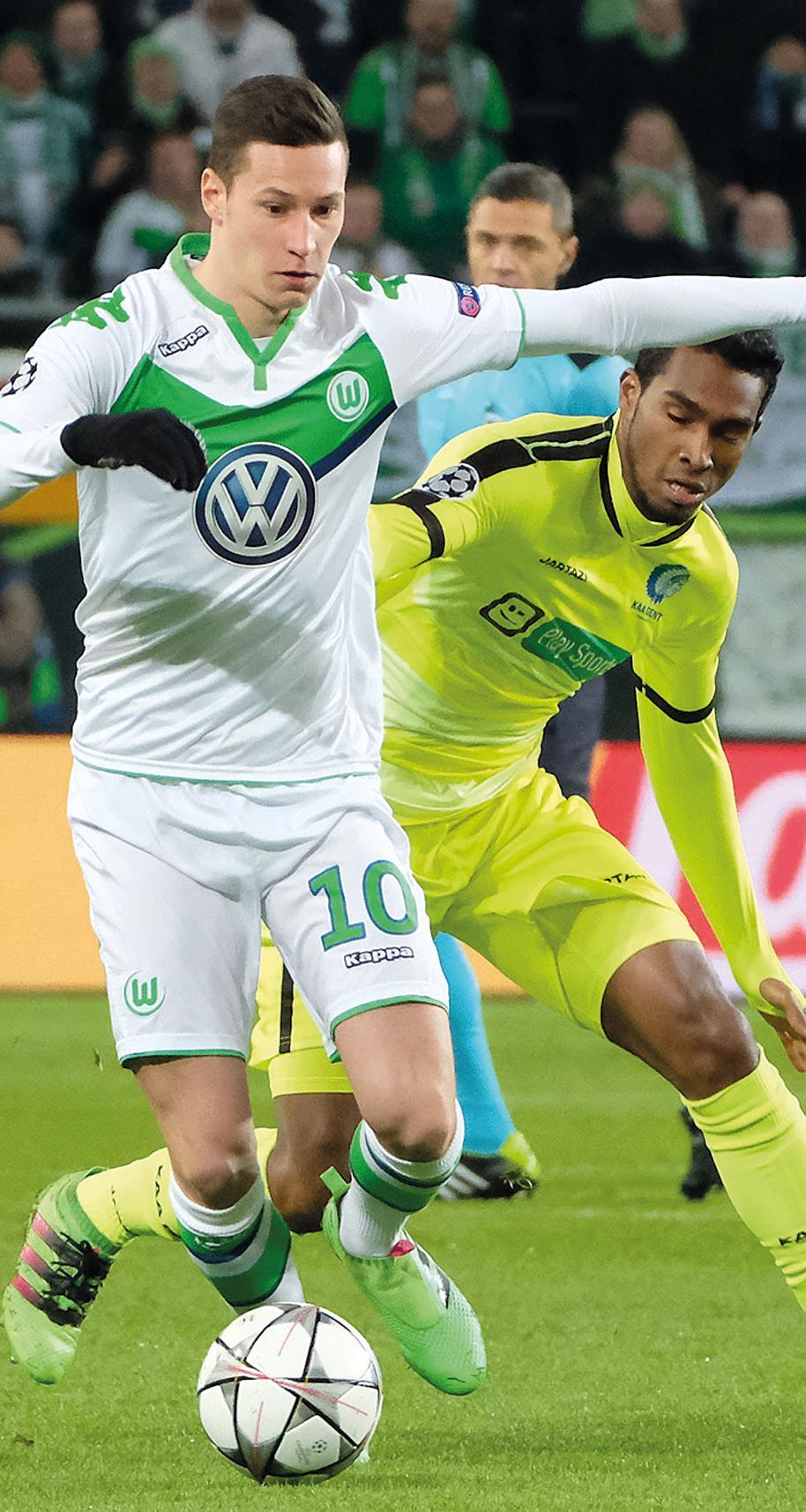 Durchgesetzt: Gegen Gent schafften Julian Draxler und Co. 2016 den Einzug ins Champions-League-Viertelfinale – der größte VfL-Erfolg auf internationaler Ebene.