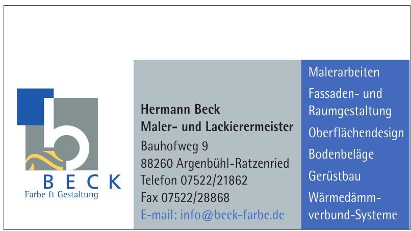 Hermann Beck Maler- und Lackierermeister