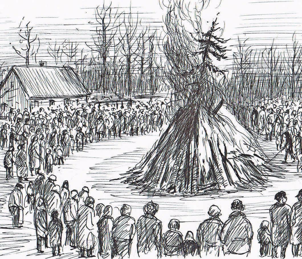 Eine Illustration von Bernd Fischer zeigt: Osterfeuer haben im Dahmeland eine lange Tradition. fotos: Heimat- & Museumsverein (2)