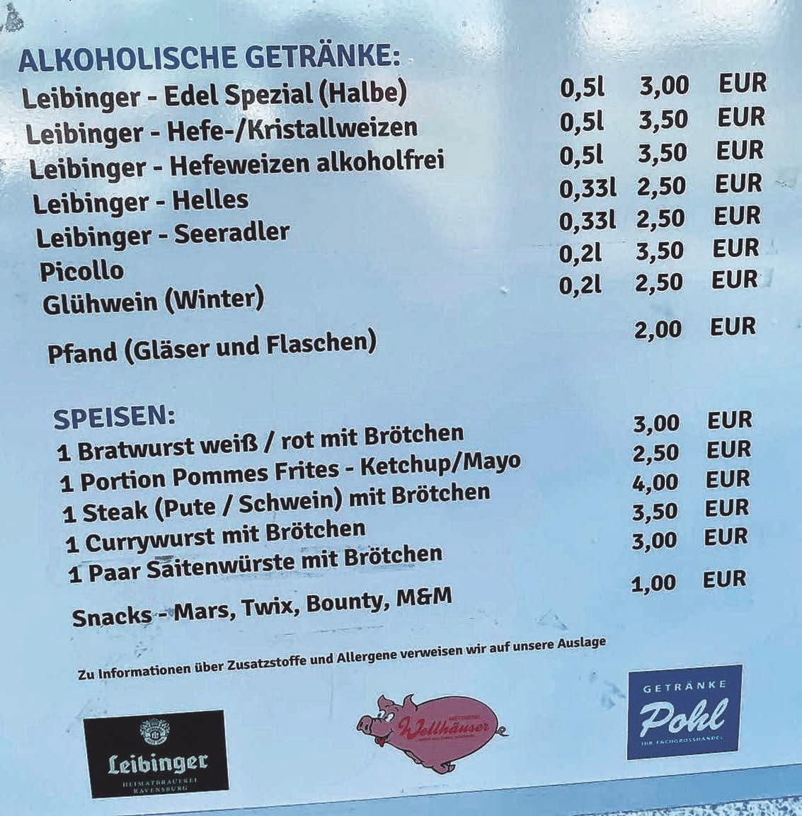 Der FV hat die Preise für Speisen und Getränke in der Cteam-Arena nicht erhöht. Die Stadionwurst kostet weiter 3 Euro.