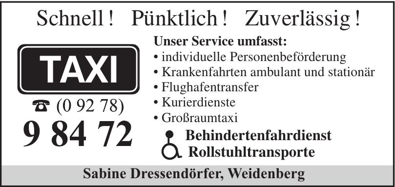 Taxi Sabine Dressendörfer, Weidenberg