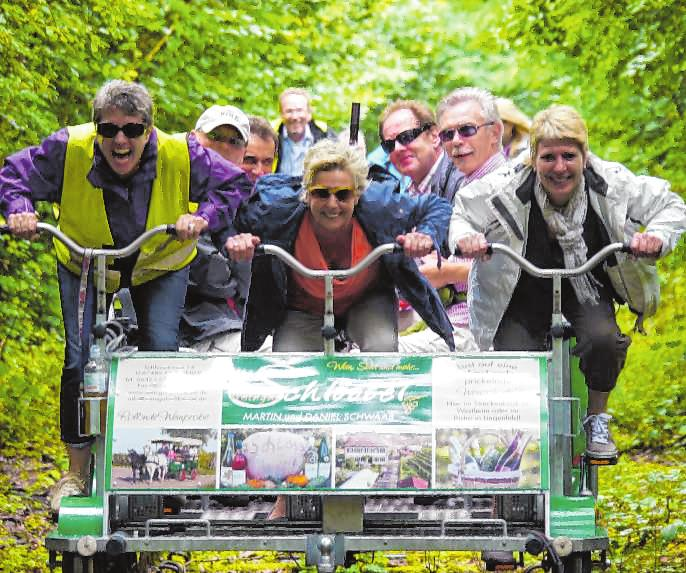 Die einen strampeln, die anderen genießen die Fahrt mit der Draisine.Bild: Südpfalz-Draisinenbahn