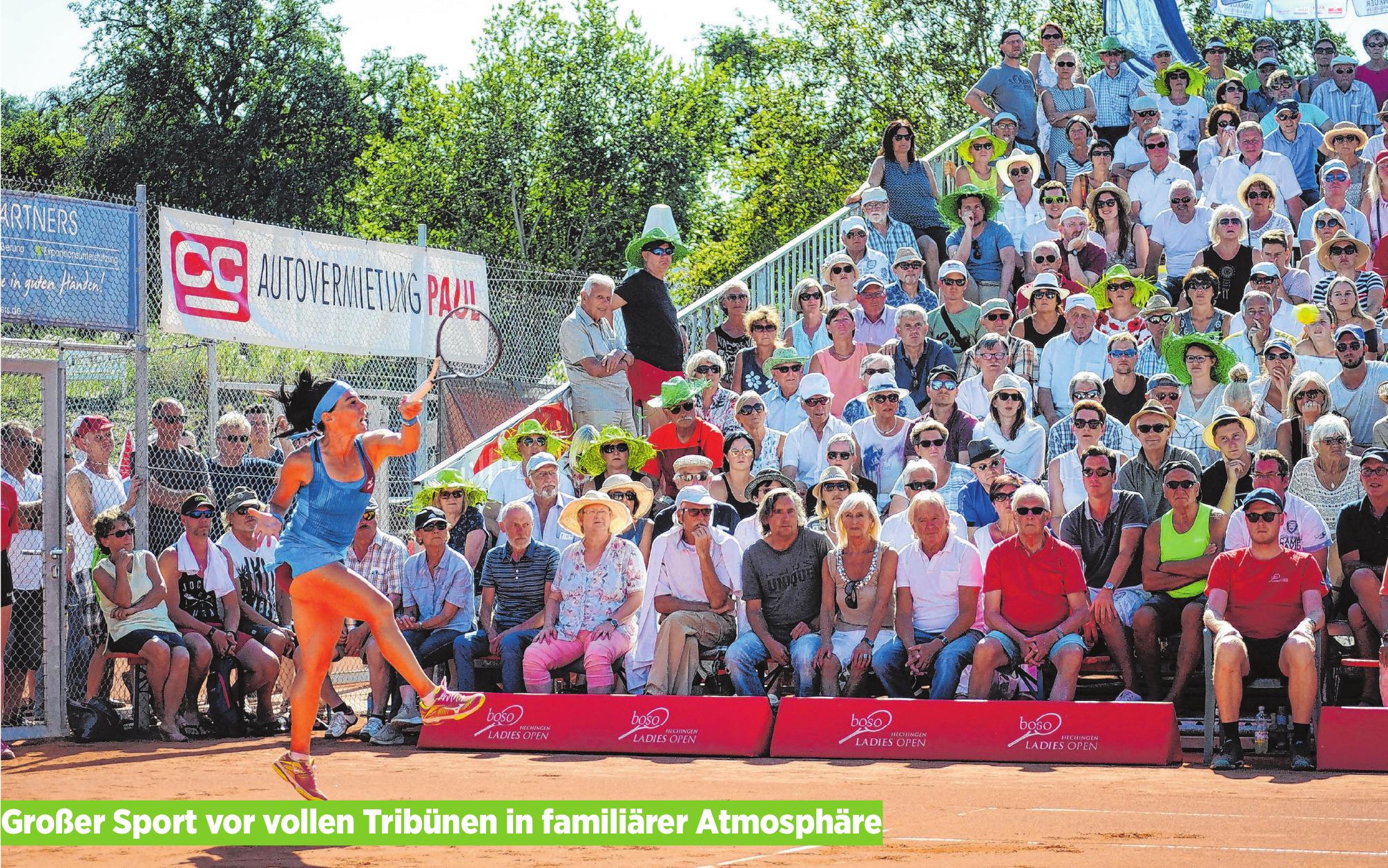 Weltklasse-Tennisspielerinnen aus nächster Nähe erleben – das kann man seit 1998 jeden Sommer im Hechinger Weiher. Die boso Ladies Open des TC Hechingen sind Jahr für Jahr gewachsen. Seine familiäre Atmosphäre, die von Spielerinnen und Fans gleichermaßen geschätzt wird, hat das Damen-Weltranglistenturnier aber nie verloren. Und dank eines unterhaltsamen Rahmenprogramms ist Hechingens größtes Sportevent immer auch ein gesellschaftliches Ereignis. Foto: Hardy Kromer