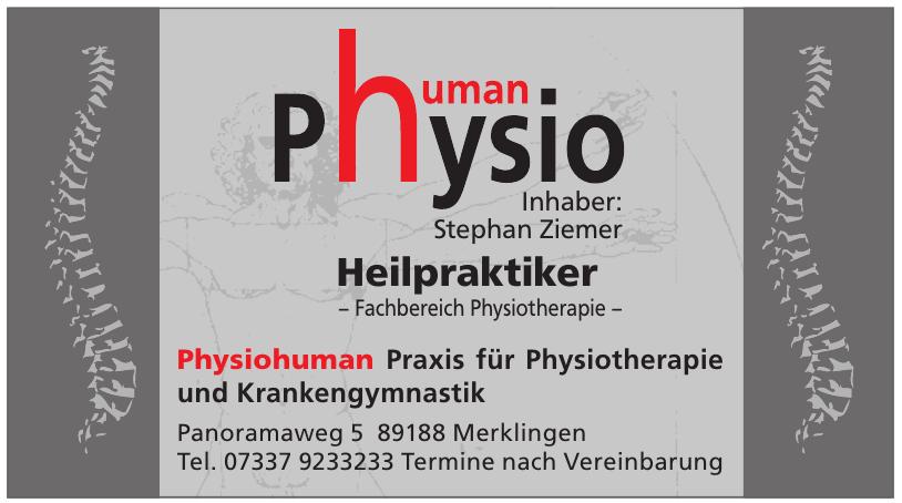 Physiohuman Praxis für Physiotherapie und Krankengymnastik