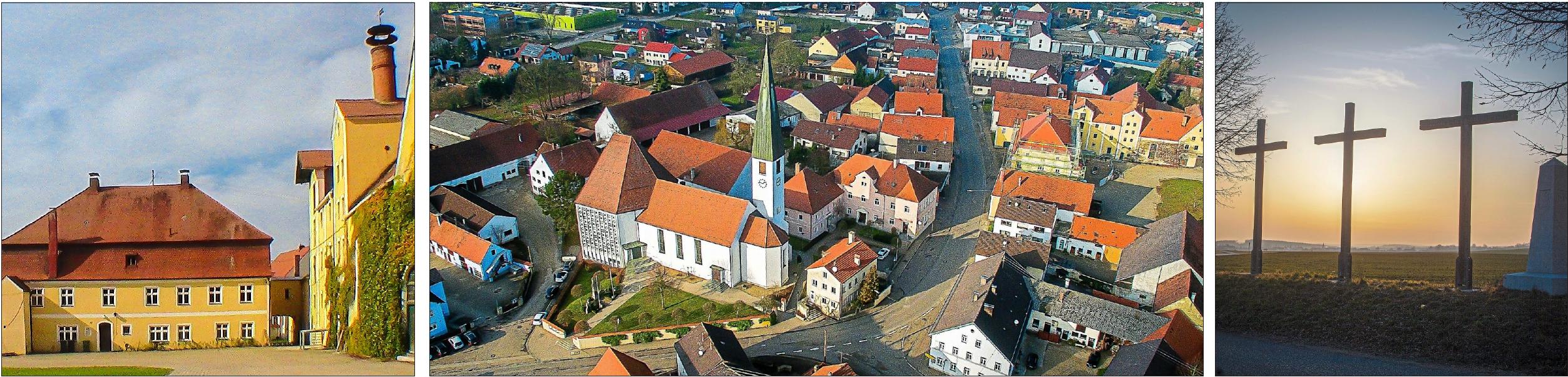 """Der imposante Carlshof (links) in der Ortsmitte von Eitensheimbeherbergt die Verwaltungsgemeinschaft und bietet mit seinen 5000 Quadratmetern Gesamtfläche noch viel Potenzial. Noch sieht man dem Dorf an, dass früher die B 13 mitten hindurchführte, das soll sich nach und nach ändern. Mysteriös sind die """"Drei Kreuze"""" (rechts), die in der Nähe des Dorfes an der Bundesstraße stehen. Fotos: Gemeinde Eitensheim"""