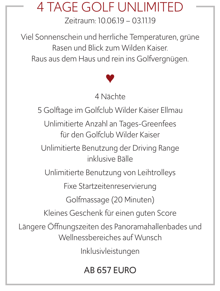 4 Tage Golf Unlimited