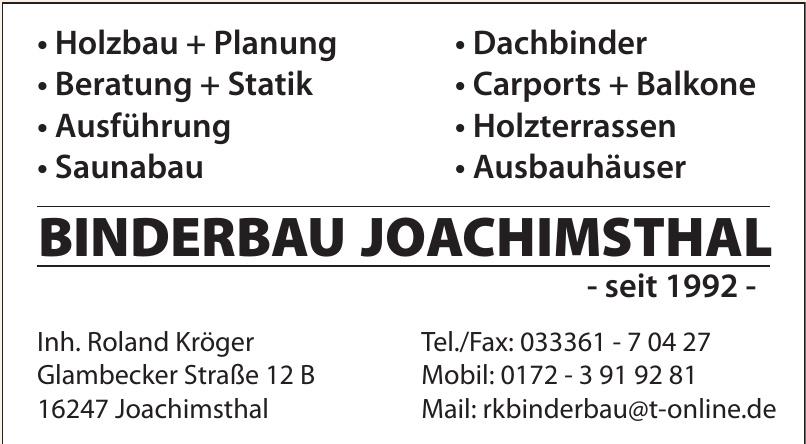 Binderbau Joachimsthal - Inh. Roland Kröger