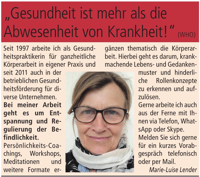 Gesundheitspraktikerin Marie-Luise Lender