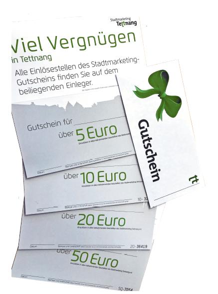Den Stadtmarketing-Gutschein gibt es im Wert von 5 €, 10 €, 20 € und 50 € - so kann jeder Wert in 5-Euro-Schritten erreicht werden. FOTO: PR