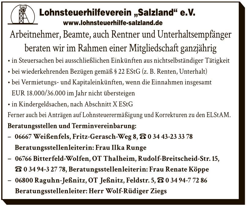 "Lohnsteuerhilfeverein ""Salzland"" e.V.- Beratungsstellenleiterin: Frau Ilka Runge"