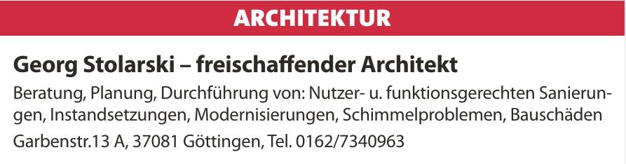Georg Stolarski – freischaffender Architekt