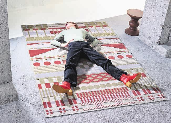 Der Teppich «Gunta» von ZigZagZurich beinhaltet Wolle und Bambus und ist eine Hommage ans Bauhaus. Bild: PD