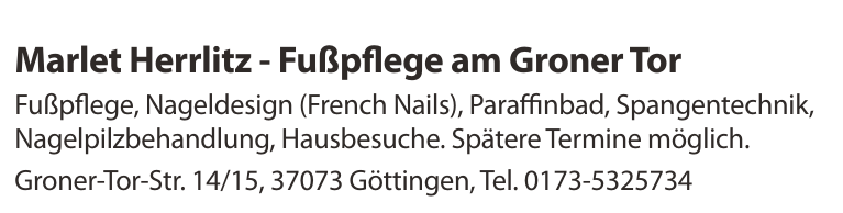 Marlet Herrlitz - Fußpflege am Groner Tor