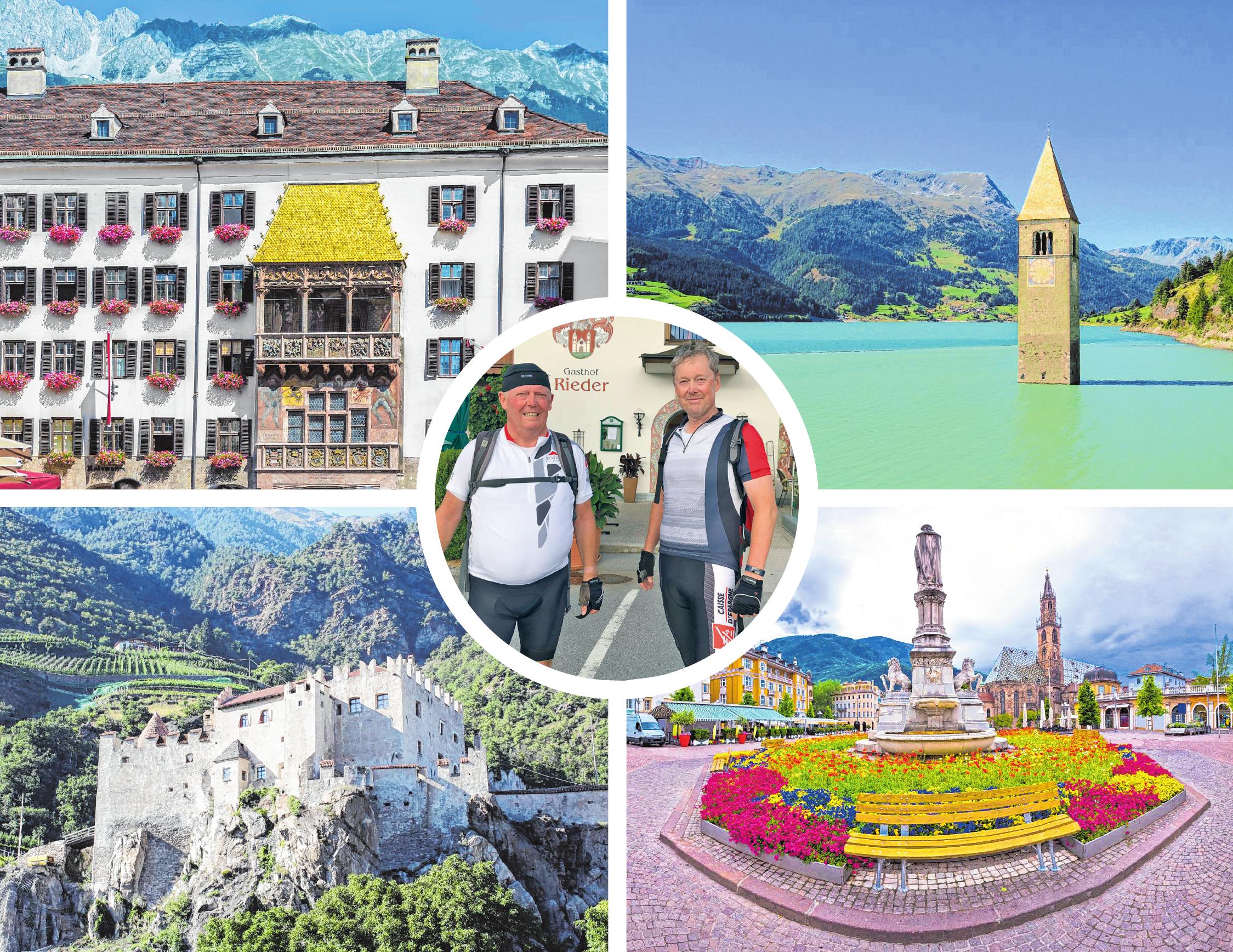 """Höhepunkte während der Alpentour von Reinhard Stopp (Bild Mitte, links) und Stefan Schall: Innsbruck mit seinem """"Goldenen Dacherl"""", der geheimnisvolle Reschensee, Burg Kastelbell und schließlich der malerische Zielort Bozen. BILDER: MATTOFF - STOCK.ADOBE.COM, LIANEM - STOCK.ADOBE.COM, PIXMAX - STOCK.ADOBE.COM, XBRCHX - STOCK.ADOBE.COM"""