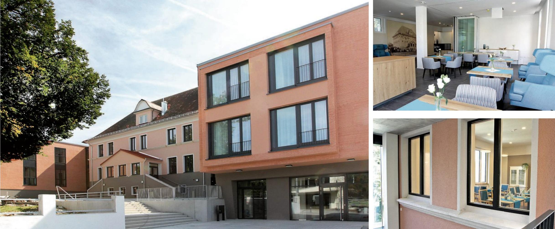 """Ein einmaliges Ensemble ist in der Ortsmitte von Rommelsbach entstanden. Der bisherige Schulhof mit seinem außergewöhnlichen Flair wurde erhalten. Oben rechts das Café """"Vesperdösle"""", darunter ein Blick durch die in den Neubau integrierten alten Schulfenster ins gemütliche Wohnzimmer. Bilder:Uhland2"""