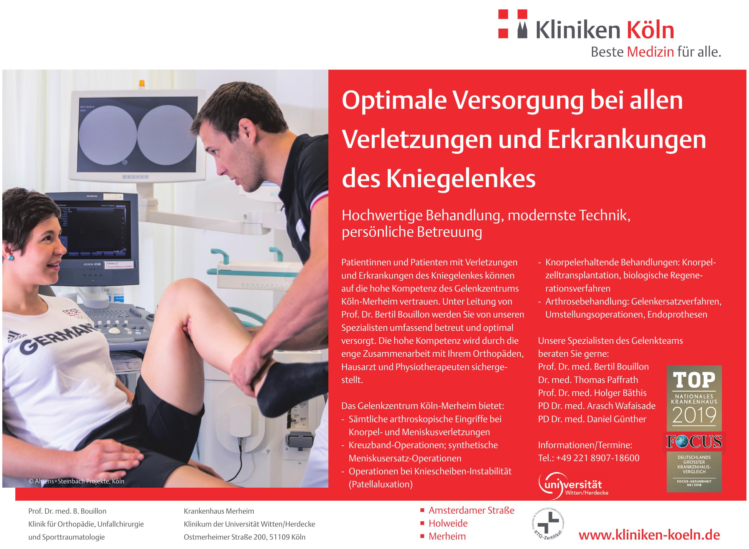 Krankenhaus Merheim - Klinik für Orthopädie, Unfallchirurgie und Sporttraumatologie