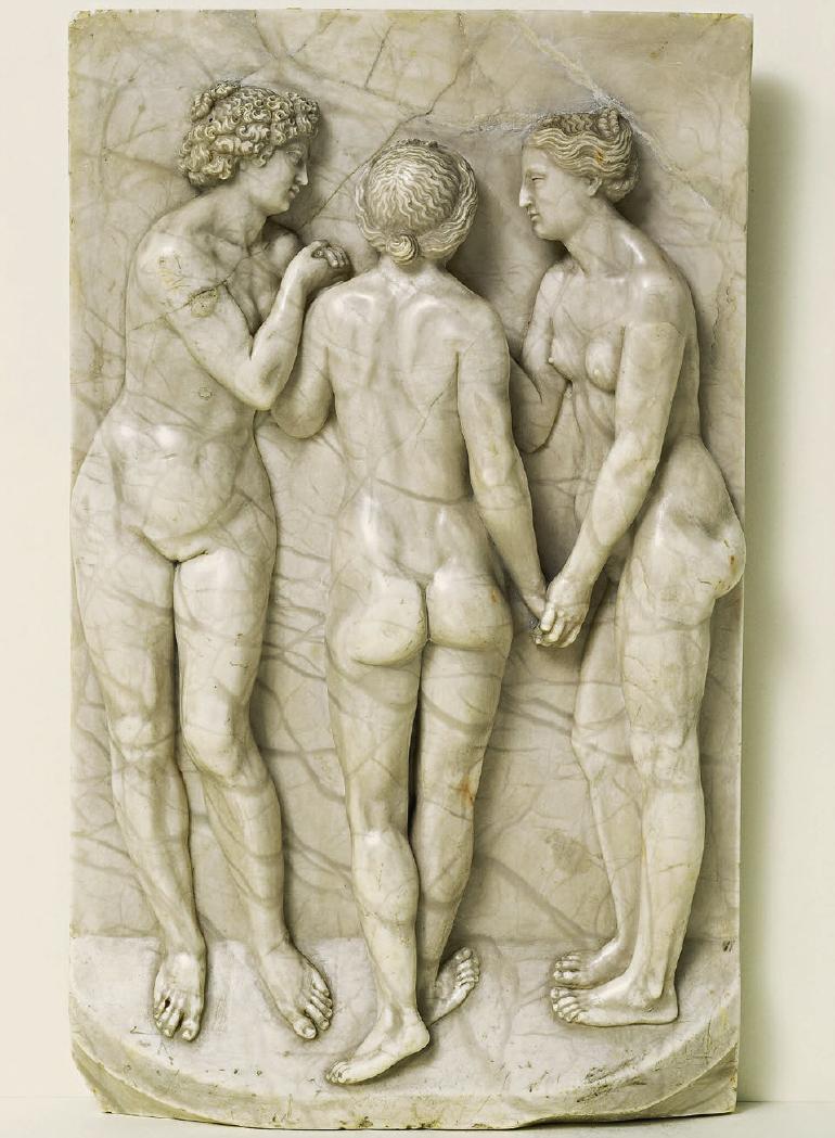 """Die """"Drei Grazien"""" von Leonhard Kern sind aus Alabaster gearbeitet. Enstanden ist das Stück um 1650 in Schwäbisch Hall. Reinhold Würth hat die Arbeit 1987 bei Christie's ersteigert. Foto: Sammlung Würth"""