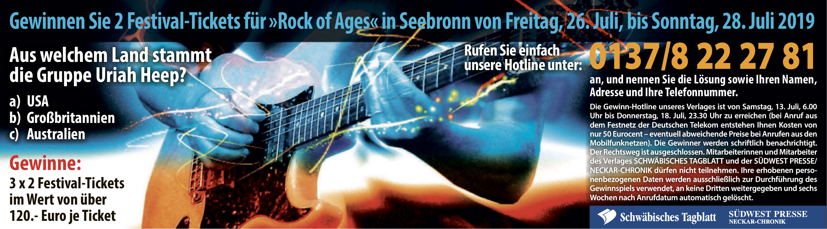 2 Festival-Tickets für »Rock of Ages« in Seebronn
