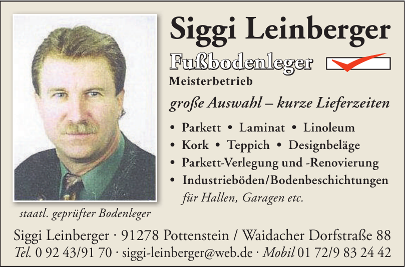 Siggi Leinberger Fußbodenleger Meisterbetrieb