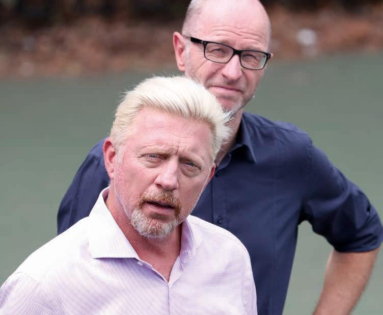 Boris Becker und Matthias Stach freuen sich bereits auf die Australian Open. Eurosport Reporter müsste man sein. Foto: Jürgen Hasenkopf