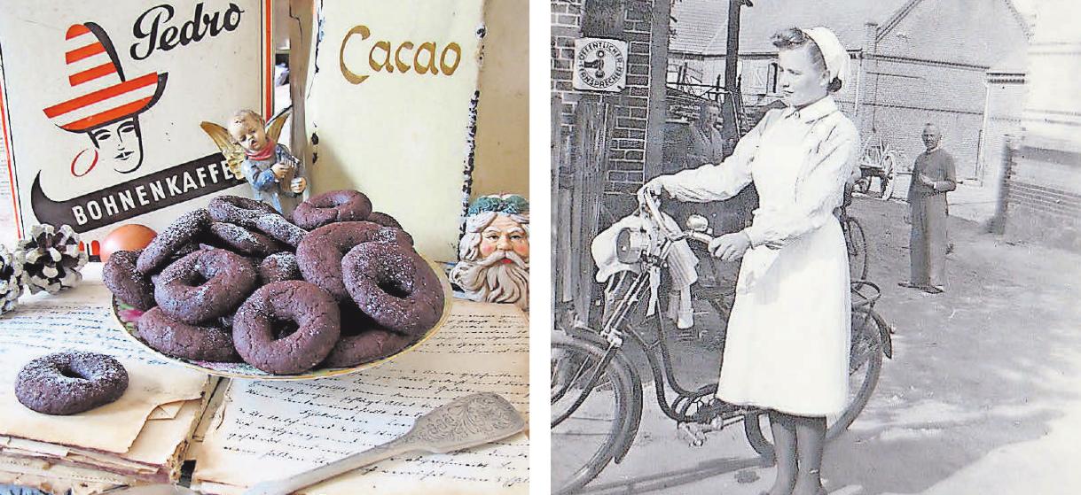 Eine Lütkenwischer Spezialität: Frau Wehmanns Schokoladenkringel. Diese junge Dame steht im Sommer 1943 vor Wehmanns Haus (hinten: Otto Wehmann).