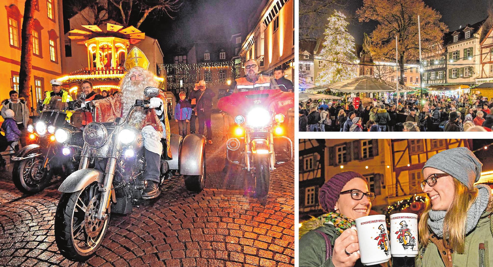 Impressionen: Bürgermeister Rolf Richter als Nikolaus auf der Harley, stimmungsvoller Lichterglanz auf dem Marktplatz und Spaß bei einer Tasse Glühwein. BILDER: FUNCK (2), NEU (1)