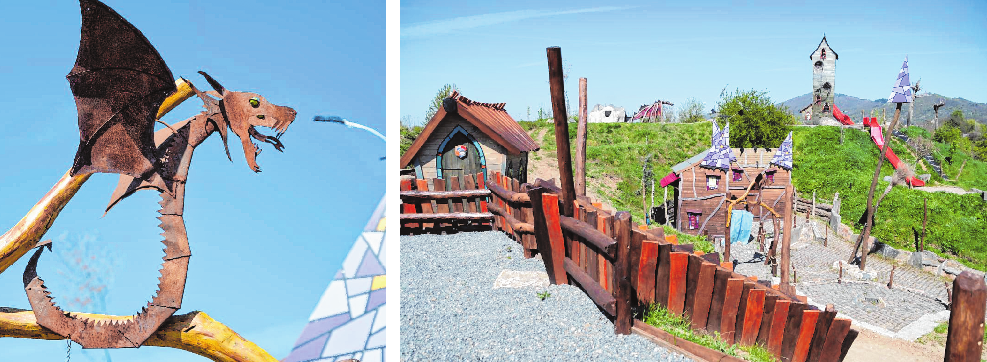 Die vielen hölzernen Häuser, Türme und Spielgeräte auf den Drachenbergen sind Unikate – und wurden mit viel Liebe zum Detail gefertigt. Bilder: Thomas Neu