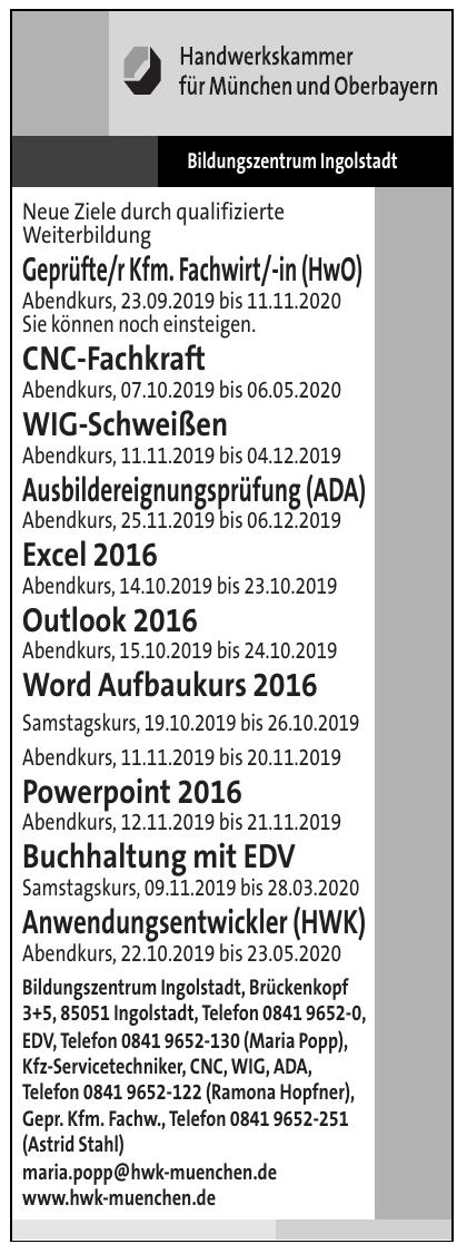 HWK für München und Oberbayern - Bildungszentrum Ingolstadt