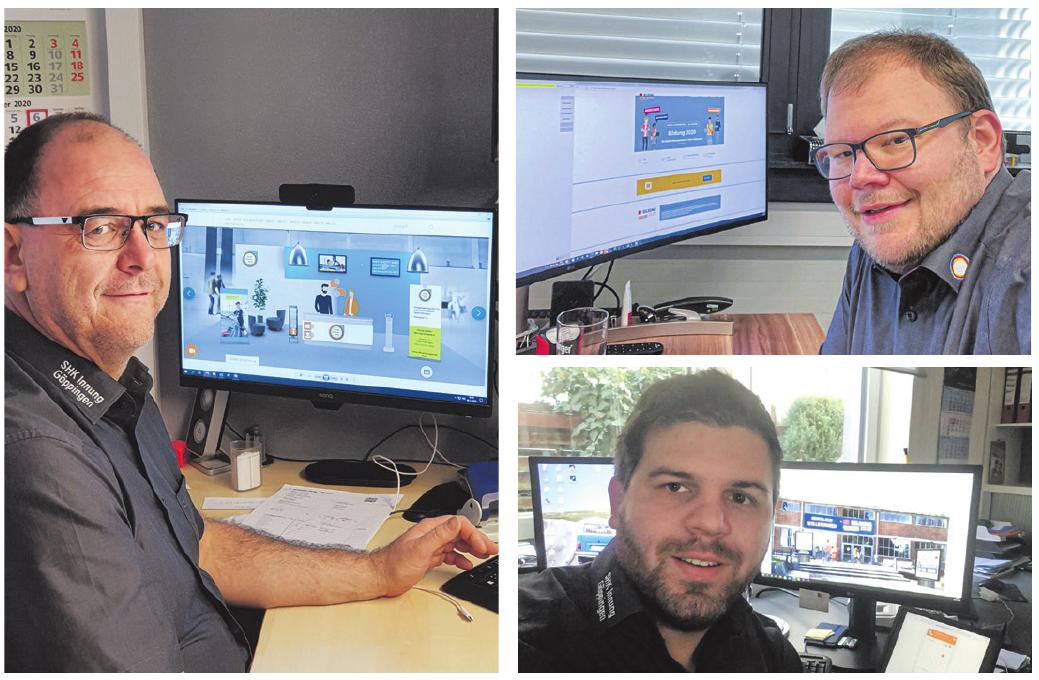 Volker Breusch (l.), Rainer Häfele (o.) und Markus Ganßloser gehörten dem Expertenteam an, das die Fragen der jungen Besucher beantwortet hat – jeweils vom eigenen Büro aus.