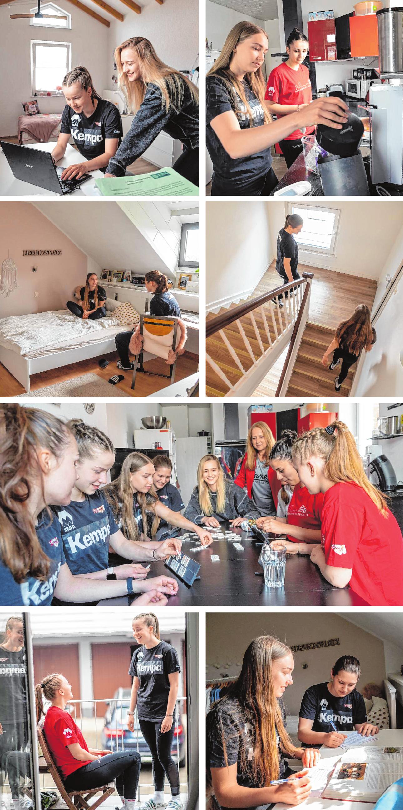 Gute Gemeinschaft: In der Handball-WG wird viel geredet, gemeinsam gekocht, gelernt und gespielt. Und natürlich auch viel gelacht. Bilder: Thomas Neu