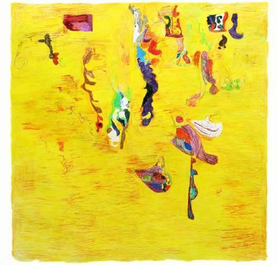 Ohne Titel (IX), 150 x 150 Zentimeter, Buntstift auf Papier, 2015 BILD: PETER PANKOW